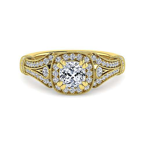 Gabriel - Zaira 14k Yellow Gold Cushion Cut Halo Engagement Ring
