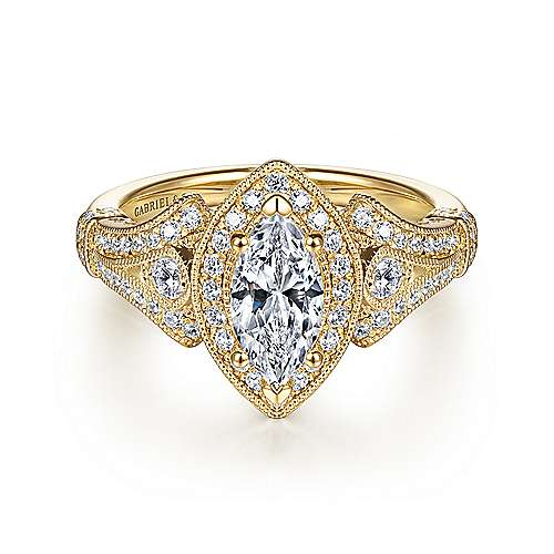 Gabriel - Zaira 14k Yellow Gold Marquise  Halo Engagement Ring