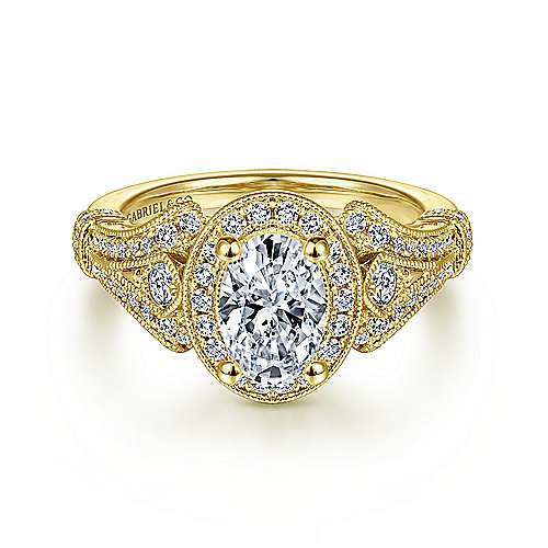 Gabriel - Zaira 14k Yellow Gold Oval Halo Engagement Ring