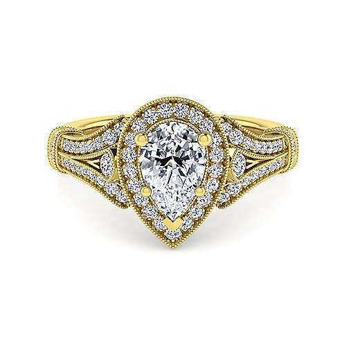 Gabriel - Zaira 14k Yellow Gold Pear Shape Halo Engagement Ring