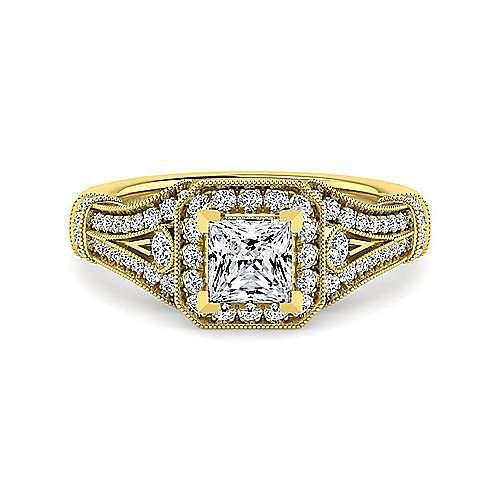 Gabriel - Zaira 14k Yellow Gold Princess Cut Halo Engagement Ring