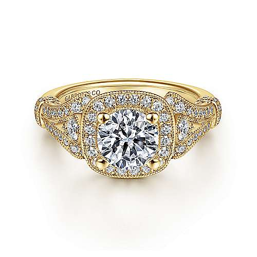 Gabriel - Zaira 14k Yellow Gold Round Halo Engagement Ring
