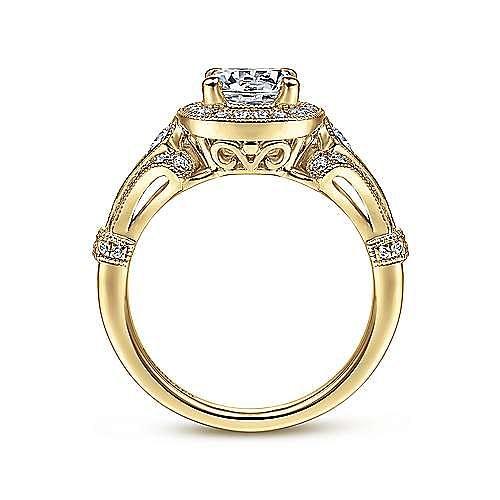 Zaira 14k Yellow Gold Round Halo Engagement Ring angle 2