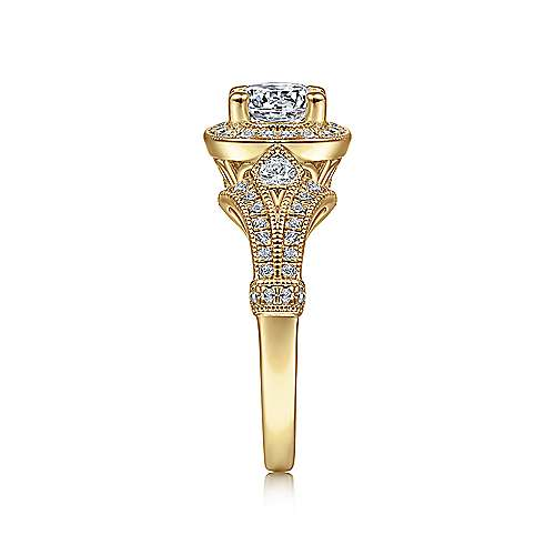 Zaira 14k Yellow Gold Round Halo Engagement Ring angle 5