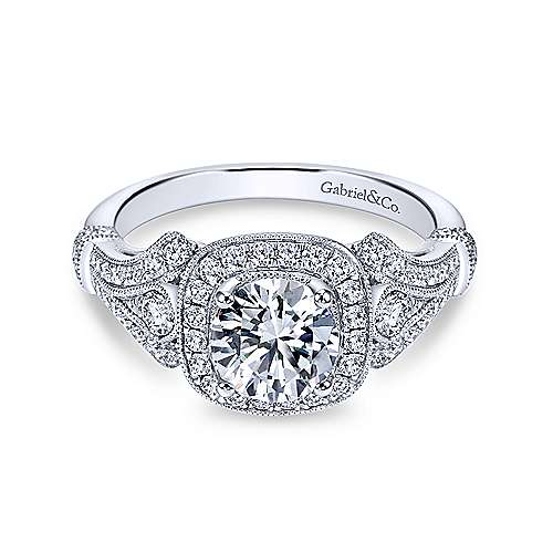 Gabriel - Zaira 18k White Gold Round Halo Engagement Ring