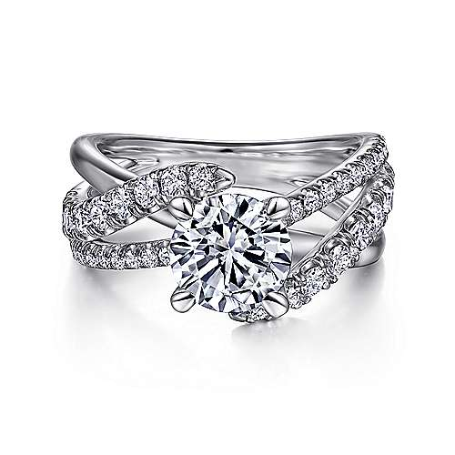 Gabriel - Zaira Platinum Round Free Form Engagement Ring