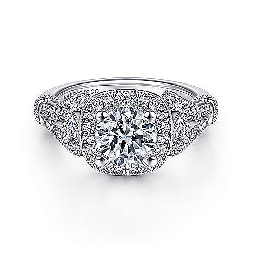 Gabriel - Zaira Platinum Round Halo Engagement Ring