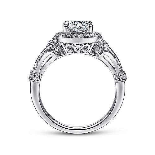 Zaira Platinum Round Halo Engagement Ring angle 2