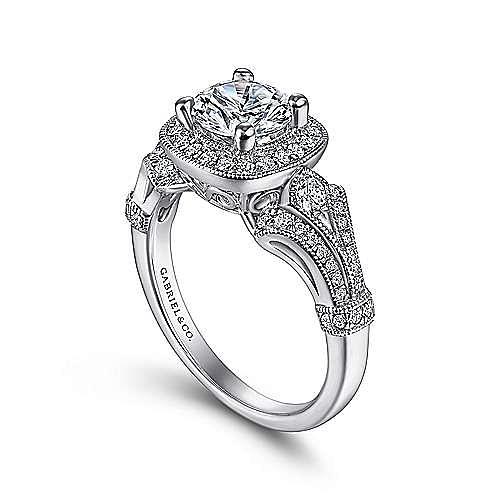 Zaira Platinum Round Halo Engagement Ring angle 3