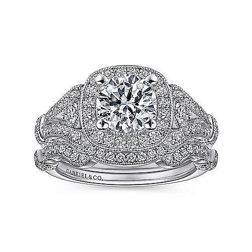 Zaira Platinum Round Halo Engagement Ring angle 4