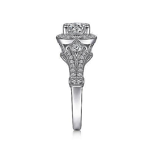 Zaira Platinum Round Halo Engagement Ring angle 5