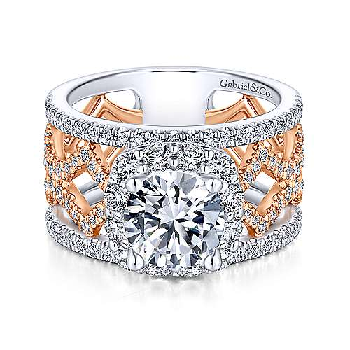 Gabriel - Zane 18k White And Rose Gold Round Halo Engagement Ring