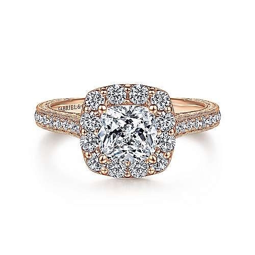 Gabriel - Zelda 14k Rose Gold Cushion Cut Halo Engagement Ring