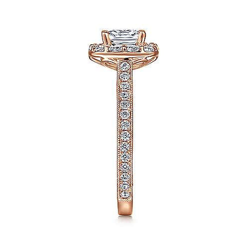 Zelda 14k Rose Gold Cushion Cut Halo Engagement Ring angle 5
