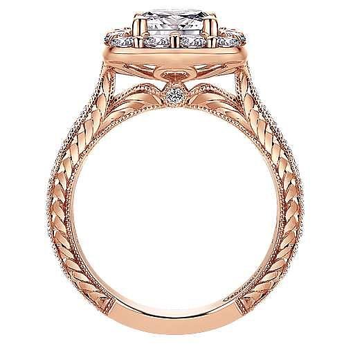 Zelda 14k Rose Gold Cushion Cut Halo Engagement Ring angle 2