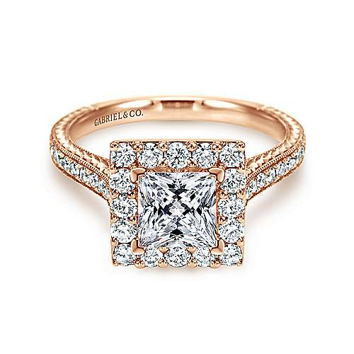 Zelda 14k Rose Gold Princess Cut Halo Engagement Ring angle 1