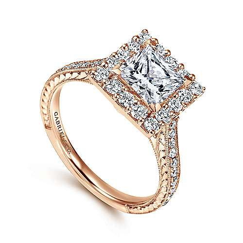 Zelda 14k Rose Gold Princess Cut Halo Engagement Ring angle 3