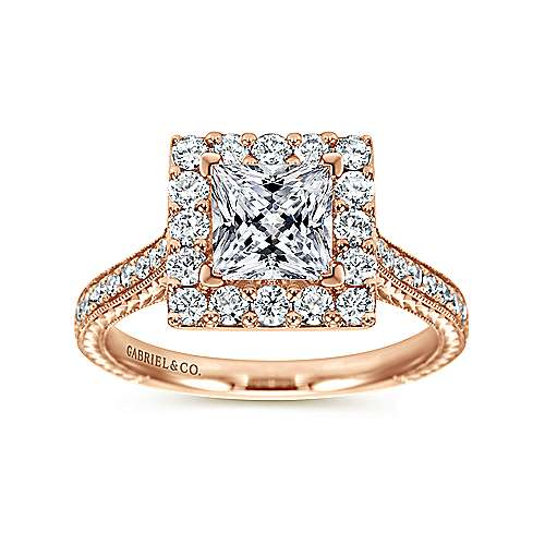 Zelda 14k Rose Gold Princess Cut Halo Engagement Ring angle 5