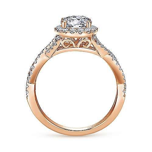 Zelda 14k Rose Gold Round Halo Engagement Ring angle 2