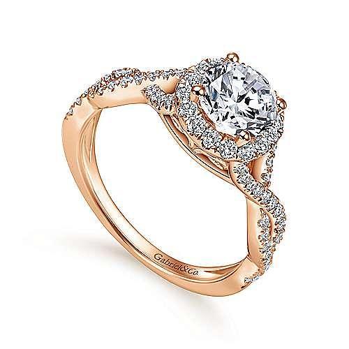 Zelda 14k Rose Gold Round Halo Engagement Ring angle 3