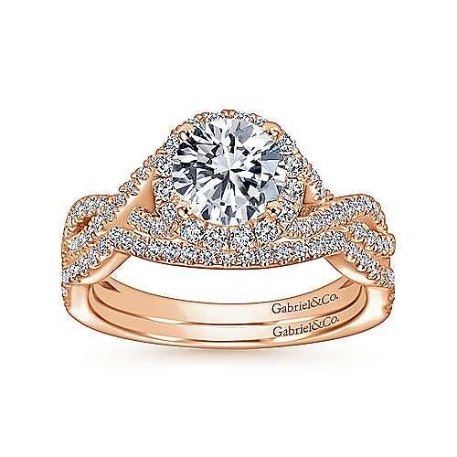 Zelda 14k Rose Gold Round Halo Engagement Ring angle 4