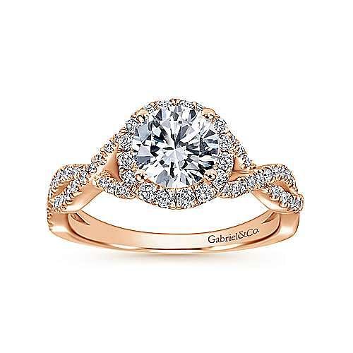 Zelda 14k Rose Gold Round Halo Engagement Ring angle 5