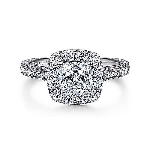 Zelda 14k White Gold Cushion Cut Halo Engagement Ring angle 1