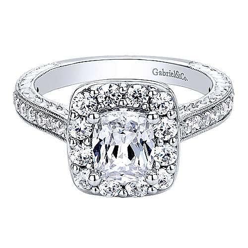Gabriel - Zelda 14k White Gold Cushion Cut Halo Engagement Ring