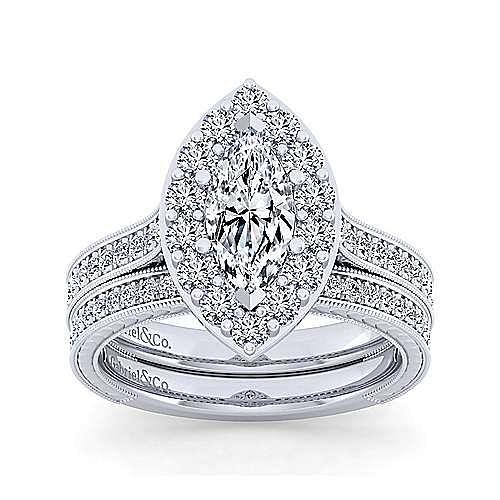 Zelda 14k White Gold Marquise  Halo Engagement Ring