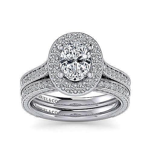 Zelda 14k White Gold Oval Halo Engagement Ring