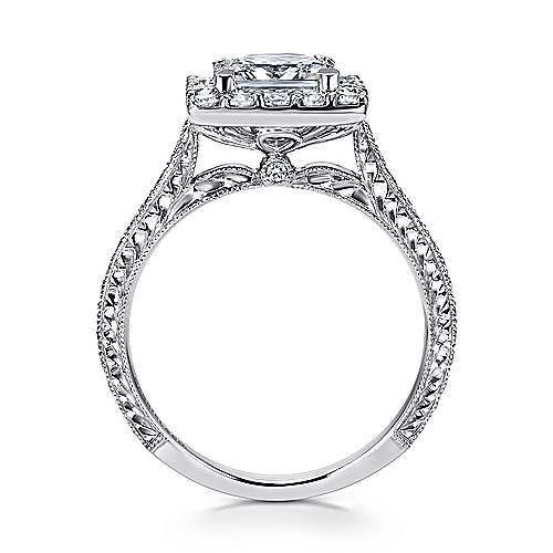 Zelda 14k White Gold Princess Cut Halo Engagement Ring angle 2