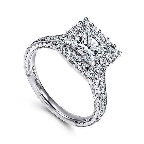 Zelda 14k White Gold Princess Cut Halo Engagement Ring angle 3