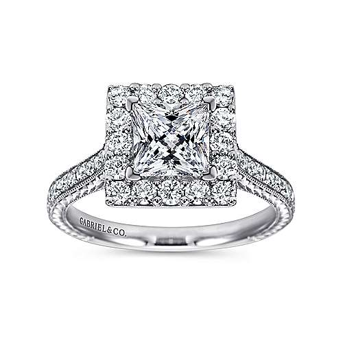Zelda 14k White Gold Princess Cut Halo Engagement Ring angle 5