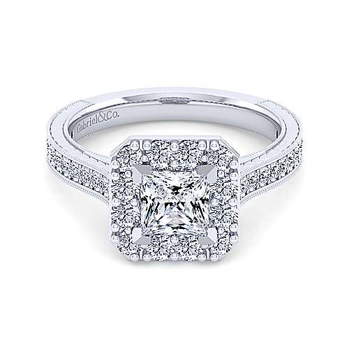 Gabriel - Zelda 14k White Gold Princess Cut Halo Engagement Ring