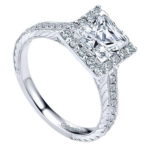 Zelda 14k White Gold Princess Cut Halo Engagement Ring angle 3