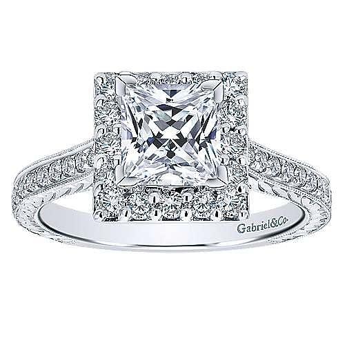 Zelda 14k White Gold Princess Cut Halo Engagement Ring angle 5