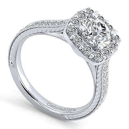 Zelda 14k White Gold Round Halo Engagement Ring angle 3