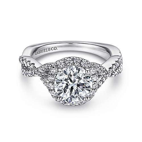 Gabriel - Zelda 14k White Gold Round Halo Engagement Ring
