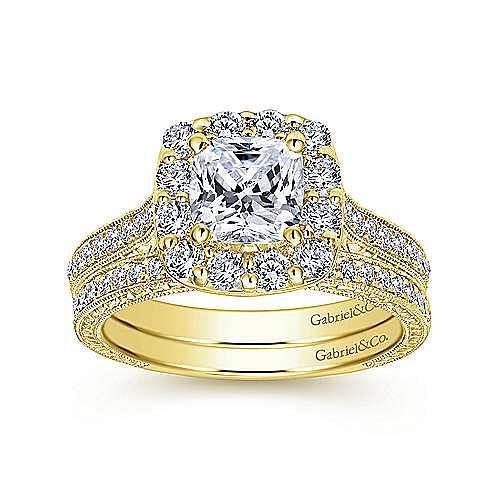 Zelda 14k Yellow Gold Cushion Cut Halo Engagement Ring angle 4