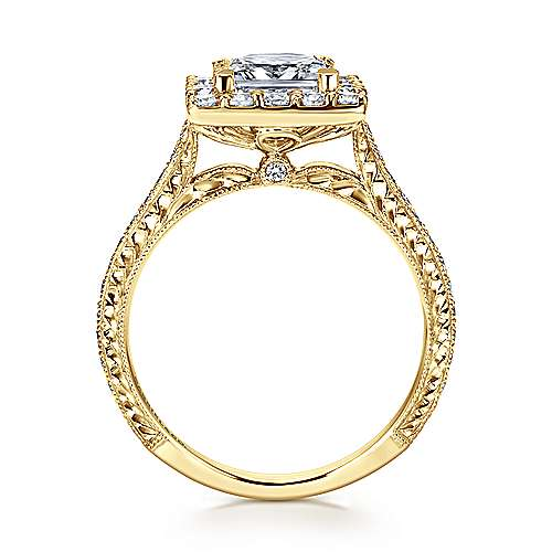 Zelda 14k Yellow Gold Princess Cut Halo Engagement Ring angle 2