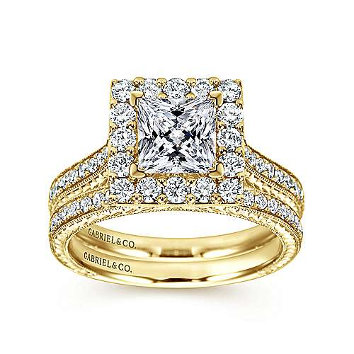 Zelda 14k Yellow Gold Princess Cut Halo Engagement Ring angle 4
