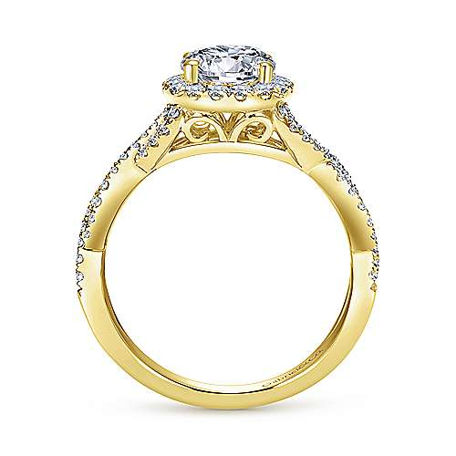 Zelda 14k Yellow Gold Round Halo Engagement Ring angle 2