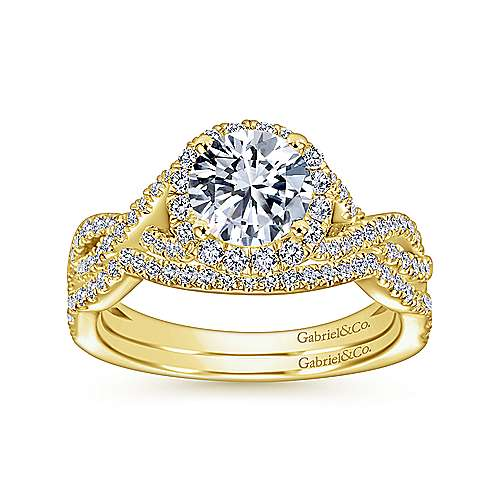 Zelda 14k Yellow Gold Round Halo Engagement Ring angle 4