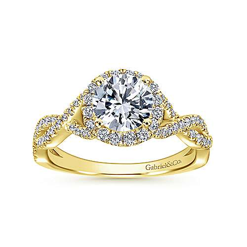 Zelda 14k Yellow Gold Round Halo Engagement Ring angle 5