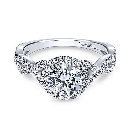 Gabriel - Zelda 18k White Gold Round Halo Engagement Ring