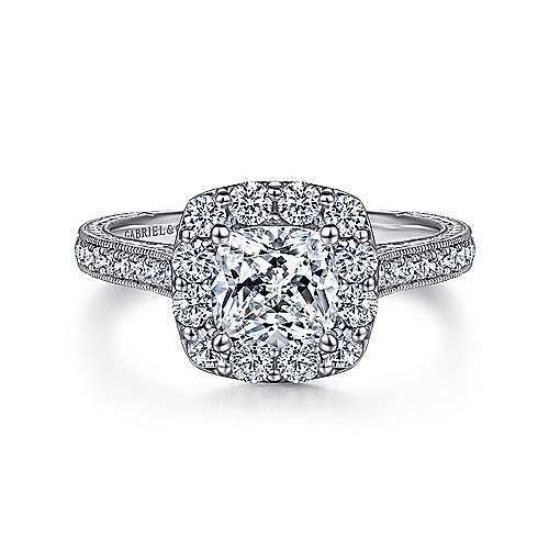 Gabriel - Zelda Platinum Cushion Cut Halo Engagement Ring