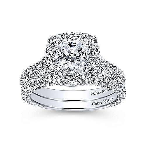 Zelda Platinum Cushion Cut Halo Engagement Ring