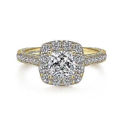 Gabriel - Zelda Titanium Cushion Cut Halo Engagement Ring