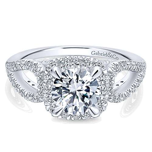 Zinnia 14k White Gold Round Halo Engagement Ring angle 1