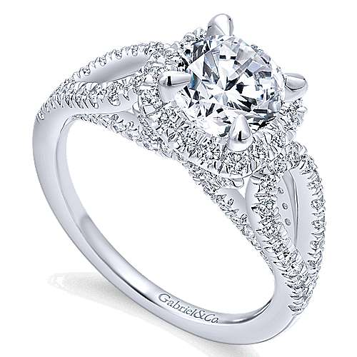 Zinnia 14k White Gold Round Halo Engagement Ring angle 3
